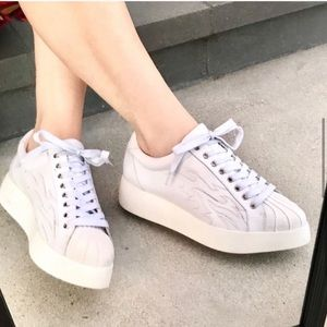 JEFFREY CAMPBELL white PLATFORM lace up sneakers